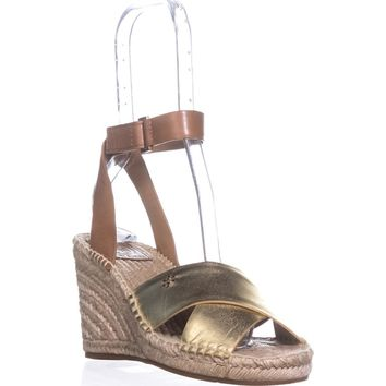 Tory Burch Bima Espadrille Wedge Sandals, Gold/Royal Tan, 11 US