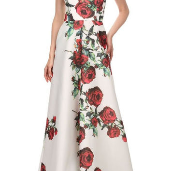 Floral Print Adjustable Spaghetti Strap Maxi Fit & Flare Dress