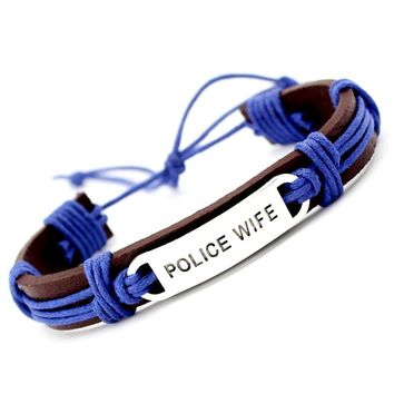 Fashion Friendship Gift Best Friends Police Firefighters Mom Wife Handcuff Charm Leather Wrap Bracelet Men Bracelets for Women