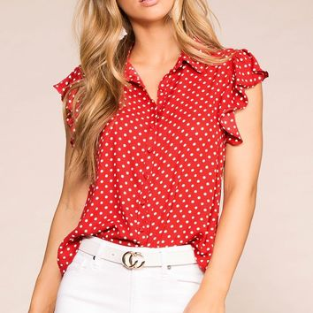 Arianna Red Dotted Ruffle Blouse