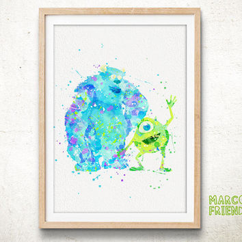 Monsters University Watercolor Art Print, Monsters Uni Mike and Sulley Room Decor, Disney Baby Nursery Wall Art Poster