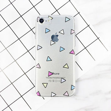 Cute Candy Loving Heart Case For iphone 7 Case Cartoon Triangle Geometry Cover Clear Soft Phone Cases For iphone7 6 6S Plus -0405
