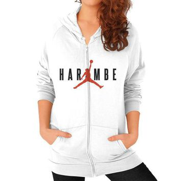 Harambe X Jordan Zip Hoodie (on woman)