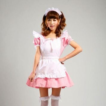 Shanghai Story Pink Maid Cosplay costumes Japanese Anime Cosplay for women Girls Lolita Dress Restaurant Uniforms set