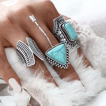 Blue Dreams - Boho Ring Set
