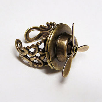 Steampunk Traveler's Aviation Locket Ring free by chinookhugs