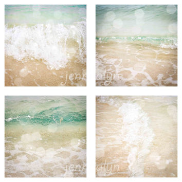 Ocean Water - four photo set, minimalist beach decor, ocean photography, aqua ombre ocean photo, ocean waves, photography gift set
