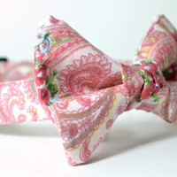 "Ready to Ship M 12-20"" -- Pink paisley and roses with matching bowtie - dog collar and bowtie, boy dog collar"