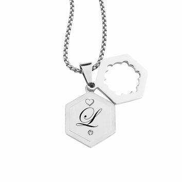 Double Hexagram Initial Necklace With Cubic Zirconia By Pink Box - L
