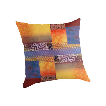 PILLOW, Decorative Pillow, Home Decor, Accent Pillow, Original Art, Original Monotype, Blue,Yellow,Purple,Orange, Vicki Bolen