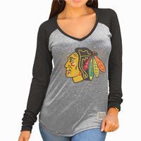 Women's Chicago Blackhawks Original Retro Brand Heather Gray/Black Lightweight Long Sleeve Raglan V-Neck T-Shirt