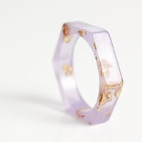 thin hexagonal eco resin ring - pale lavender with gold leaf flakes - size 9