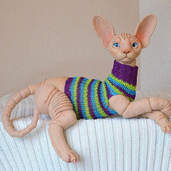 Needle felted cat Sphynx. BJD from wool. Animal portrait. Collectible toy.