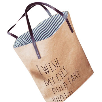 Vintage Canvas Tote Bag with Letter Print