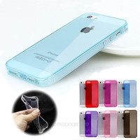 [Crazy Soft Candy Color Crystal Case Cover TPU Silicone Protector Skin for iPhone 5 5s with Pluggy = 5988108801