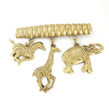 Vintage Jungle Animal Brooch, Zebra, Giraffe, Elephant  Dangling Gold Tone Pin, Christmas Gift For Her