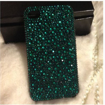 Handmade Bling sparkle diamond crystal Rhinestone iPhone 4 4s 5 5s 5c 6 6 plus case cover samsung s5 note 3 note 2 case cover green