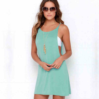 Sleeveless Plain Mini Dress Top