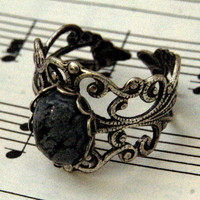 Snowflake Obsidian and Silver Ring