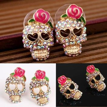 Cute Pink Rose Rhinestone Skeleton Skull Ear Studs Earrings Jewelry