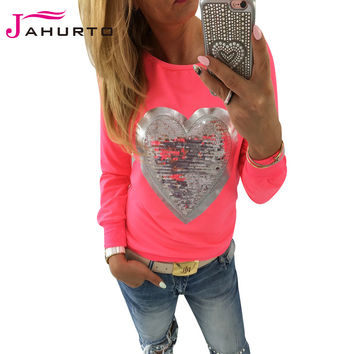 Jahurto Love Heart Sequins T-shirt Neon Color Round Neck Long Sleeve Slim Casual Cute Women Shirt Pullover Female Clothes