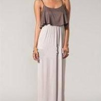 Color Me Red brand Mocha and Beige Ruffle Knit Maxi Dress