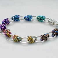 Rainbow Ombre Sterling Silver and Niobium Bracelet - Ready to Ship