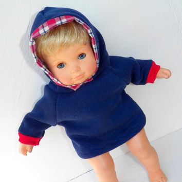"""Bitty Baby Clothes Twin Doll 15"""" American Girl Navy Blue Sweatshirt Hoodie Hooded Jacket with Red Plaid Trim"""