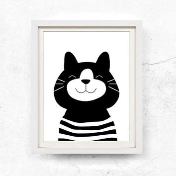 Cat illustration, Nursery wall art, Children's print, Black and white, Cat printable, Kids print, Digital download, Poster, 8x10, 11x14