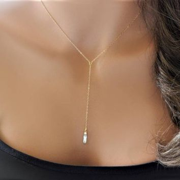 Lariat Necklace • Gold Diamond CZ Y Necklace • Wedding Necklace • Bridesmaid Gift • Dainty Everyday Lariat • Girlfriend Sister Mom Gift