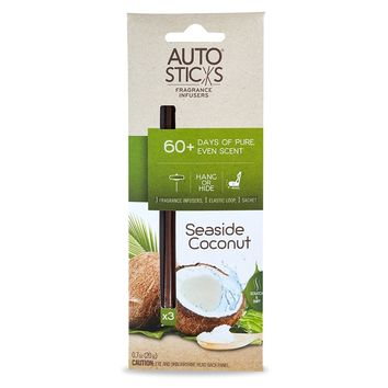 Enviroscent Autosticks Aroma Diffusers for Cars, Seaside Coconut, Box of 3