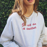 Go Sit On A Cactus Embroidery Crop Sweatshirt