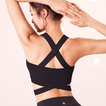 Bandage Cross Strap Crop Push Up Sports Bra