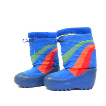 1970s 80s MOON BOOTS Vintage Lasco Snow Sports PUFFY Rainbow Stripes Winter Insulated Boot Shoes Rubber Platform Heels Size 7-8