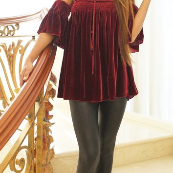 Off Shoulder Silk Velvet Top