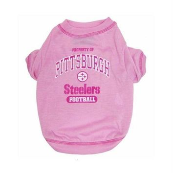 auguau Pittsburgh Steelers Pink Dog T-Shirt
