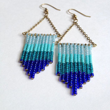 Hand Beaded Ombre Earrings in Ocean