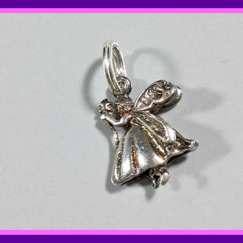 Sterling Silver Charm Fairy Godmother Flying Fairy Mystical Magical Fun Bracelet Charm or Pendant Comes With Jump Ring Needs Polishing