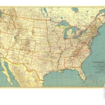 1933 United States of America Map Art Print at Art.com