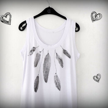 Monochrome Feathers Women Tank Top  Tunic, Hand Printed  Sleeveless Women Summer Top