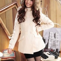 Slim Double Breasted Ladies Winter Jackets Apricot : Wholesaleclothing4u.com