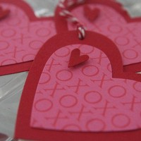 Hugs and Kisses Pink and Red Heart Tag Set of Three