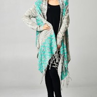 M L Charcoal Gray Heathered Aztec Mint Teal Trim Long Duster Fringe Cardigan