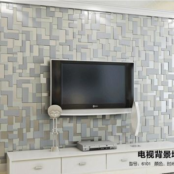 Gray Mosaic Lattice Wall Paper Home Decor Europe  Embossed 3d wall murals Modern Non-Woven Living room TV Background Wallpaper