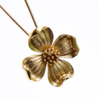 Vintage Trifari Flower Necklace -  Gold Tone Signed Dogwood Costume Jewelry / Floral Blossom