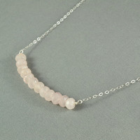 Rose Quartz Necklace, Wire Wrapped Beads, 925 Sterling Silver Chain, Beautiful Jewelry