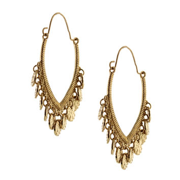 Sparkling Sage - Detailed Coin Plated Dangle Hoop Earrings