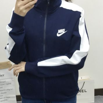 "Fashion ""NIKE"" Women Trending Hooded Zipper Tops Jacket Sweatshirts"