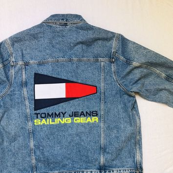 4b689f25 Tommy Jeans 90s Capsule 5.0 Denim Jacket With Back Sailing Logo