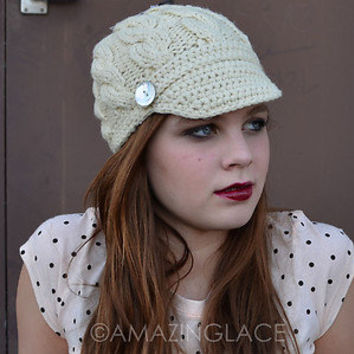 Brim Cable Knit Hat Beanie Visor Womens Cap Crochet Winter Newsboy Fashion Trend